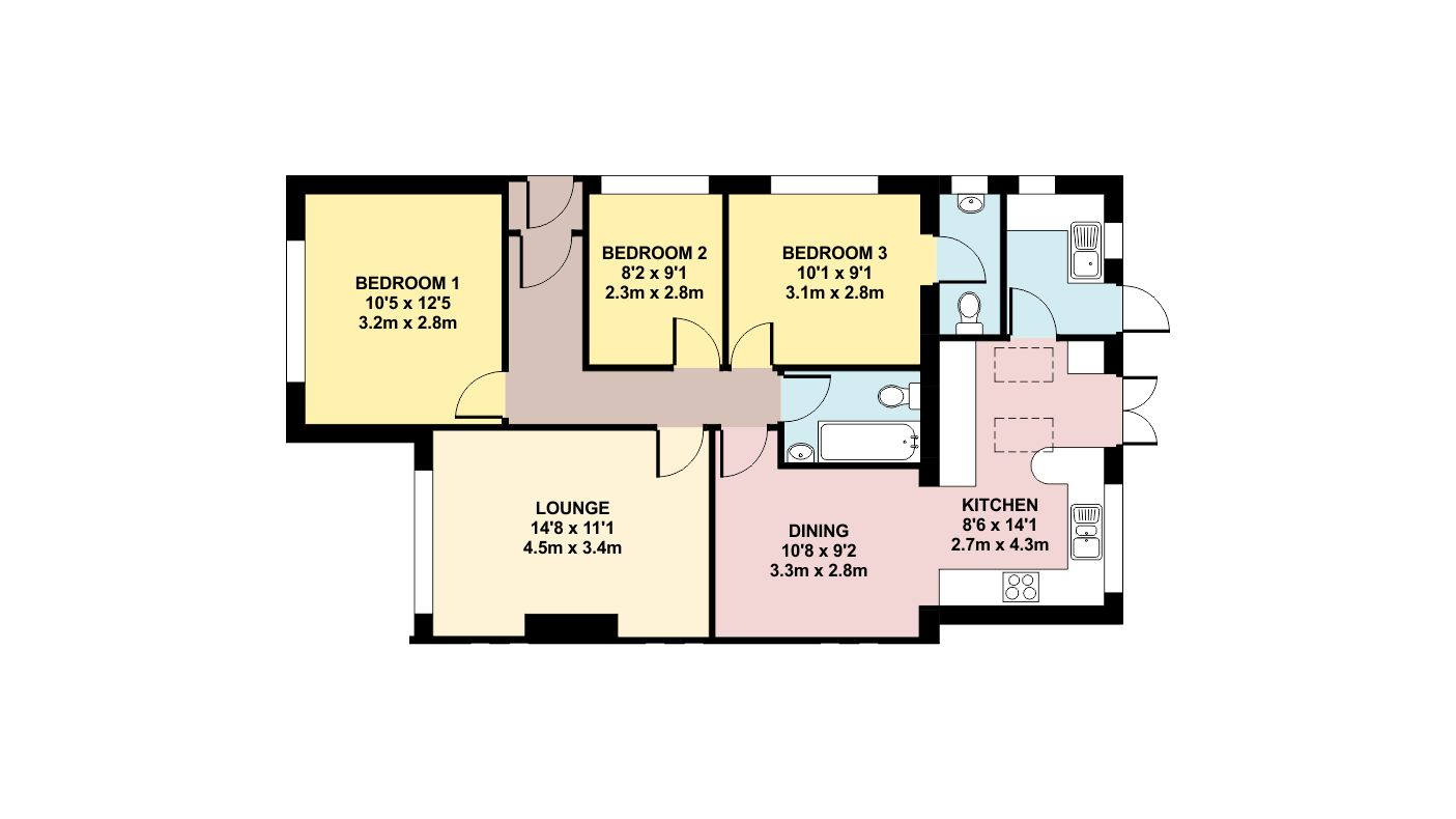 Colour floor plan ben williams home design and for Floor plan drafting services