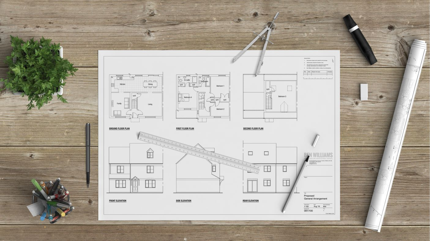 Planning application ben williams home design and for Garage extension plans
