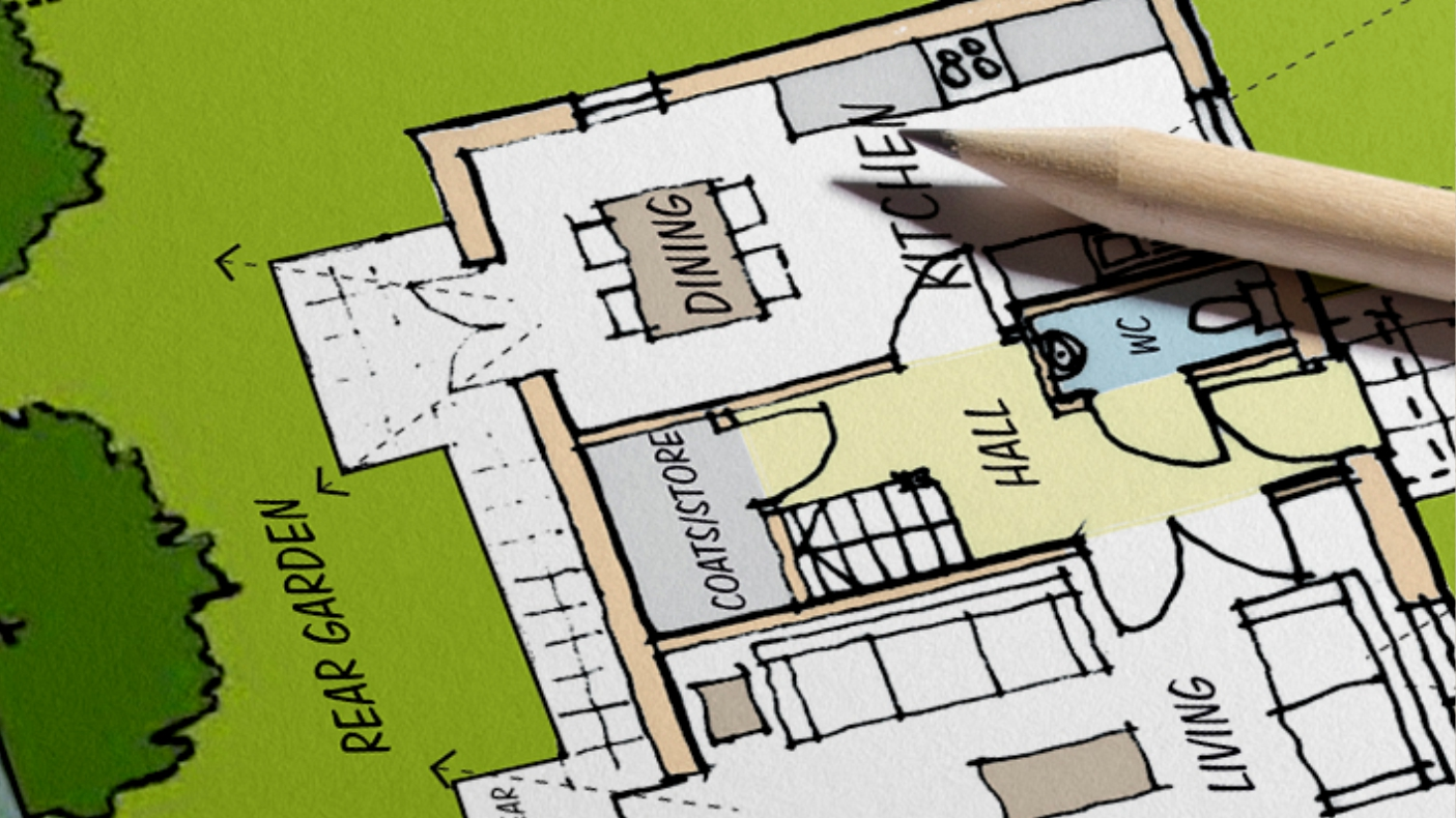 Sketch illustration ben williams home design and for Pre drawn house plans