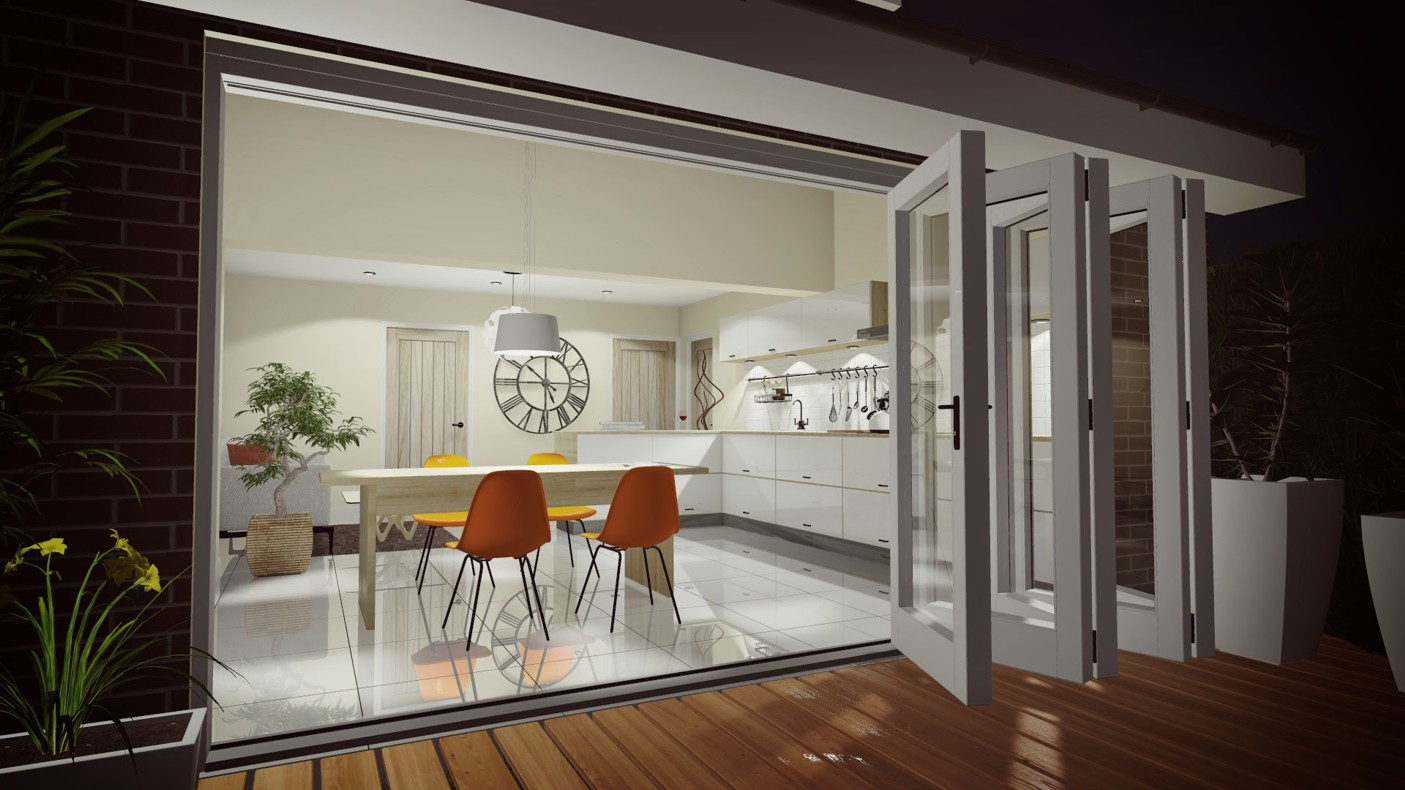Home Remodeling Kitchen Extension Bi Fold Doors 3d Cgi Visualisation Interior Outside